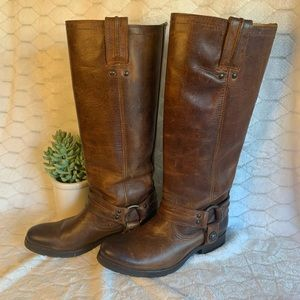 Frye cognac leather tall moto harness boot